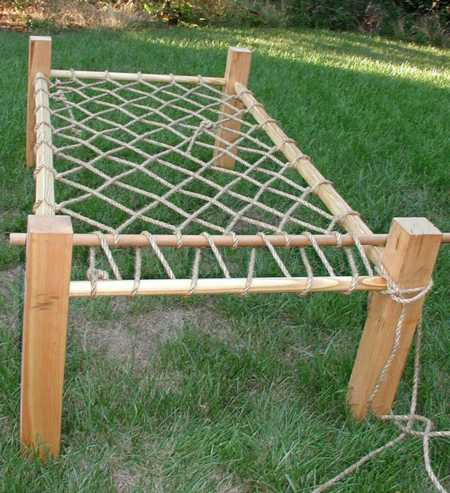 a rope bed based on a 13th c byzantine ivory